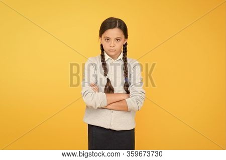 Schoolgirl Calm Serious Pupil Long Hair. Beginning Of Academic Year. Educational Activity. Homeschoo