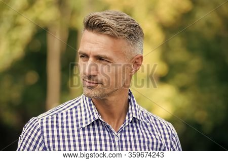 Handsome And Confident. Handsome Man On Summer Outdoor. Mature Person With Handsome Face. Fashion An