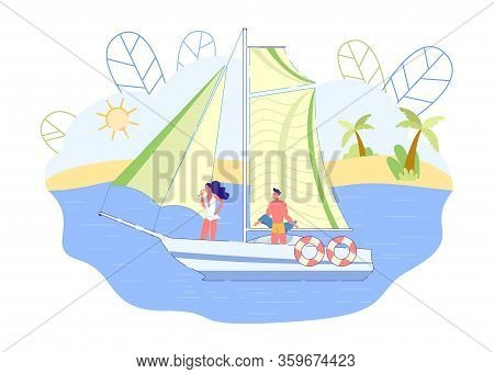 Couple Sailing And Drinking Champagne, Slide. Yacht Is Sailing, Guy And Girl Are Standing Deck. Man