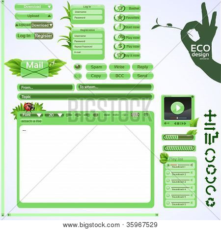 Elements for eco friendly web design. Green set