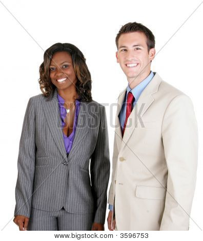Business People Smiling In Welcome.