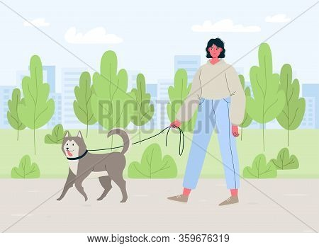 Young Woman Walking With Dog Outdoor In The Park, Healthy Active Lifestyle. Colorful Flat Cartoon Ve