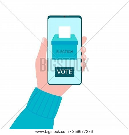 Online Voting Concept From Smartphone Screen. Voting Box And Voters Choose. Put Ballot Paper In Ball