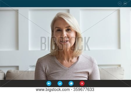 Laptop Screen View Aged Woman Use Videocall Talking With Relatives