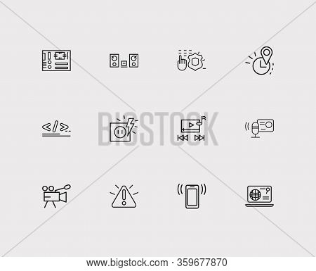 Hardware Icons Set. Mother Board And Hardware Icons With Programming, Audio Recorder And Real Time L