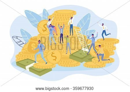 Measurable Goals. Financial Income. Profitable Partnership. People Climb On Money Banknote And Gold