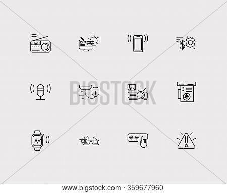 Hardware Icons Set. Access Code And Hardware Icons With Smart Watch, Warning Alert And Microphone. S