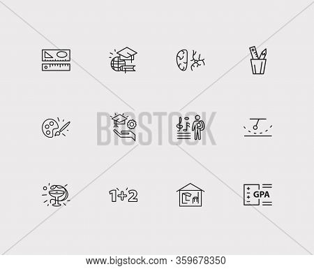 Distant Education Icons Set. Medicine And Distant Education Icons With Learning Support, Brush With