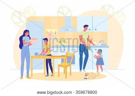 Happy Family Together At Home. Regular Household Chores And Housework. Mother And Father With Kids C