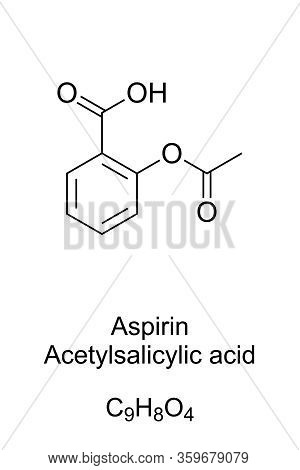 Aspirin, Formula And Molecular Structure. Acetylsalicylic Acid, Asa. Medication Used To Reduce Pain,