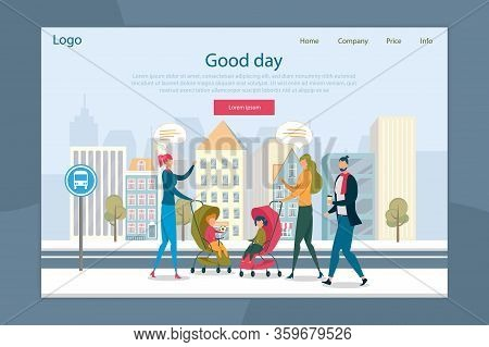 Happy Family Walk In City Street Landing Page Design. Married Couple Meeting Friend Having Nice Conv