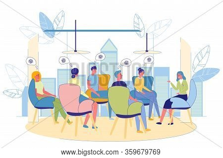 Conducting Group Psychotherapy In Modern Building. Men And Women Sitting In Soft Comfortable Chairs.
