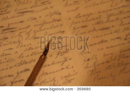 Pen Nib Over Written Text