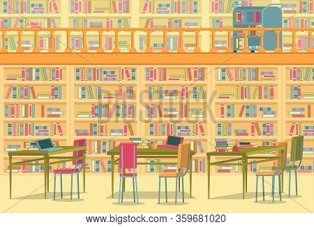 Large Library With Bookshelves All Over Wall. Large Number Books For Research And Leisure. Near Nume