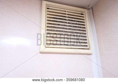 Extremely Dirty And Dusty White Plastic Ventilation Air Grille At Home Close Up, Harmful For Health,