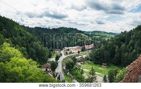 View Of Bran Village Near Bran Castle, As Known As Dracula Castle, Transylvania, Romania.
