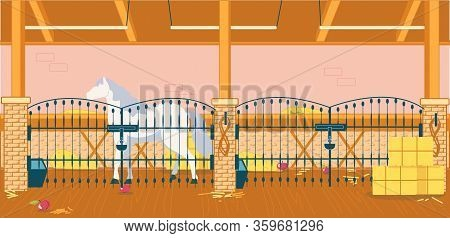 Rustic Stable With Beautiful Horse And Haystack. Mare Stand Bhind Metal Fence With Lock. Indoor Ther