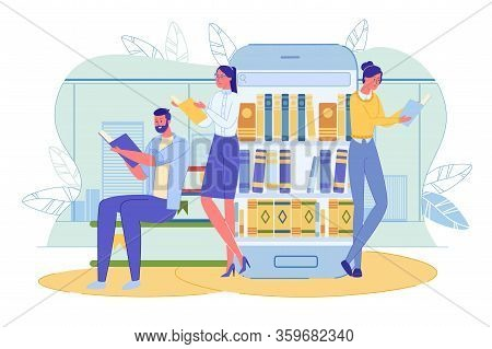 Man And Woman Enjoy Reading Book. Young People Character Standing Near Big Smartphone. Electronic Li