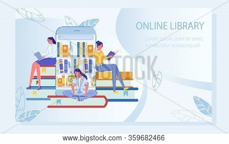 People Receiving Knowledge In E-library Poster. Young Woman Reading Paper Book. Mobile Application F