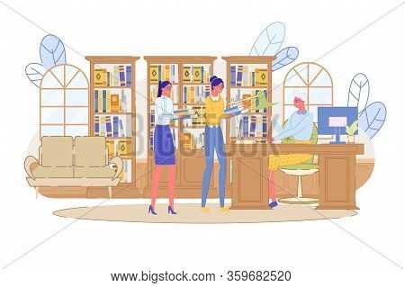 Small People Queue In Public Library Or Bookstore. Two Young Woman Borrowing Book And Magazine For R