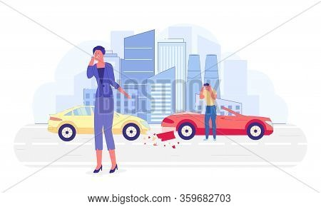 Crying Woman Talking On Mobile Phone Flat Cartoon Vector Illustration. Man In Despair Standing Near