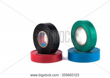 Four Insulating Tapes To Insulate Twisted Of Electrical Wires. Insulating Tapes Isolated On White Ba