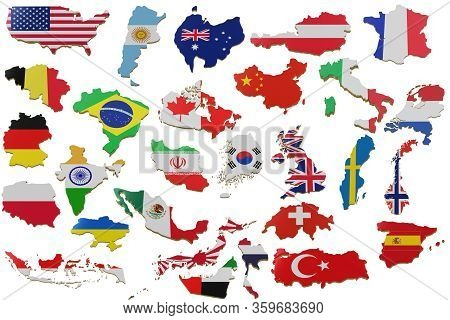 Set 3d Map With Many Countries. Map Of Countries Land Border With Flag. Countries Map On White Backg