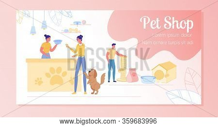 Selection Toys And Accessories At Pet Store, Slide. Girl Hands Seller Money, She Buys Large Bowl For