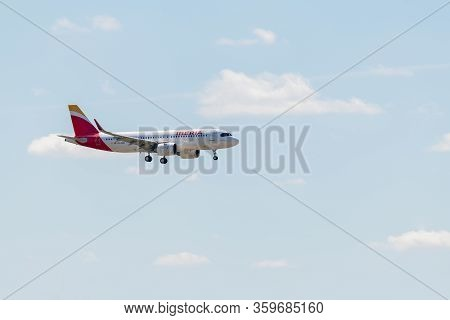 Madrid, Spain - April 14, 2019: Iberia Airlines Airbus A320 Passenger Plane Ready To Land At Madrid-