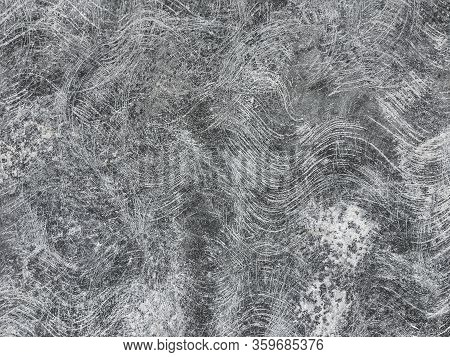 Abstract Beton Background With Swirl Lines. Concrete Copy Space With Circular Chaotic Ornament.