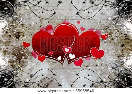 Grungy Frame Floral With Couple Heart