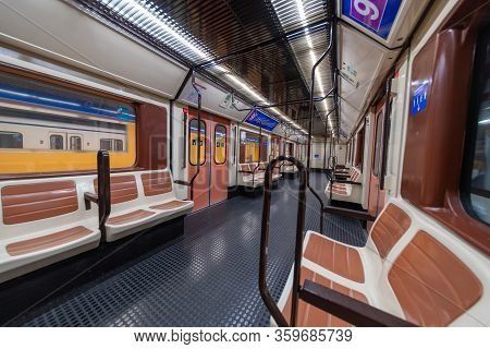 Madrid, Spain - April 13, 2019: Inside Empty Metro Wagons On Line 9, An Unusual Sight For This Type