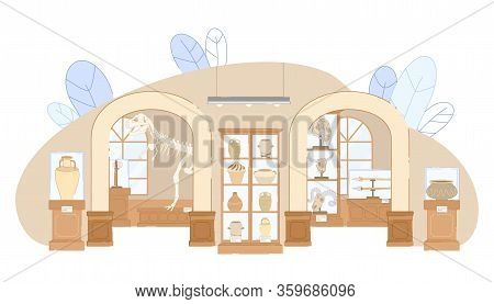 Archaeological Museum Interior Vector Illustration. Tyrannosaurus Dinosaur Skeleton, Extinct Animal