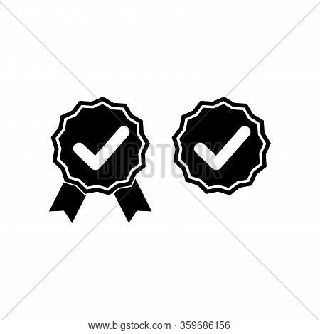 Check Marks Or Top Service, Guarantee, Warranty, Approved Icon In Black Or Tick, Cross Checkmarks. C