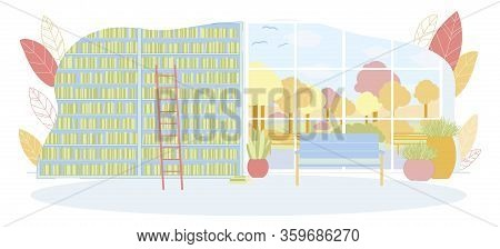 University Wall With Bookcase Interior. Stack Of Books On Shelf, Bench, Plant Pot, Ladder Near Books