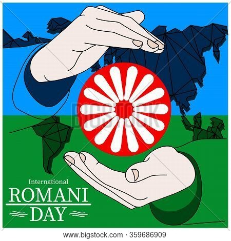 International Romani Day Banner Flag And Wheel Inscribed In The Inscription Holding Hands Icon Flat