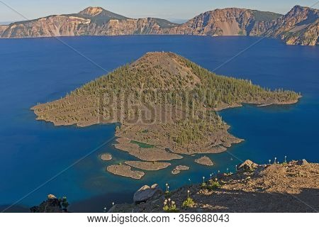 Evening Shadows Moving Over Crater Lake In Crater Lake National Park, In Oregon