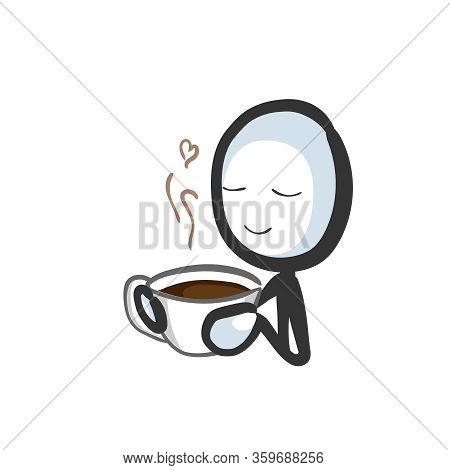 Drinking Cup Of Coffee. Enjoying Hot Morning Drink. Nice Coffee Aroma. Hand Drawn. Stickman Cartoon.