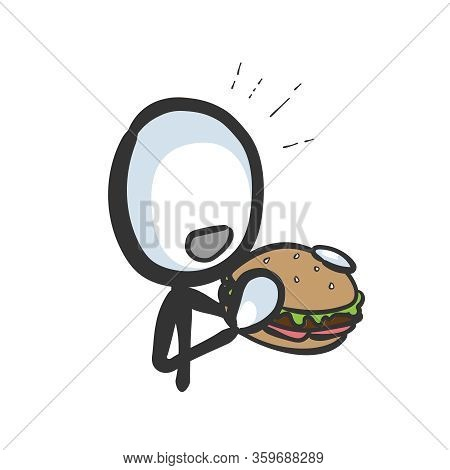 Eating Burger. Unhealthy Fast Food. Very Hungry. Hand Drawn. Stickman Cartoon. Doodle Sketch, Vector