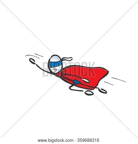 Super Hero Flying To Rescue. Red Cape. Hand Drawn. Stickman Cartoon. Doodle Sketch, Vector Graphic I