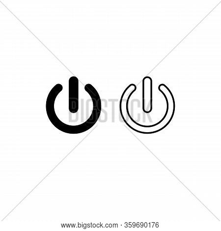 Shut Down Button Or Power On Off Vector For Apps And Websites Icon In Black On An Isolated White Bac