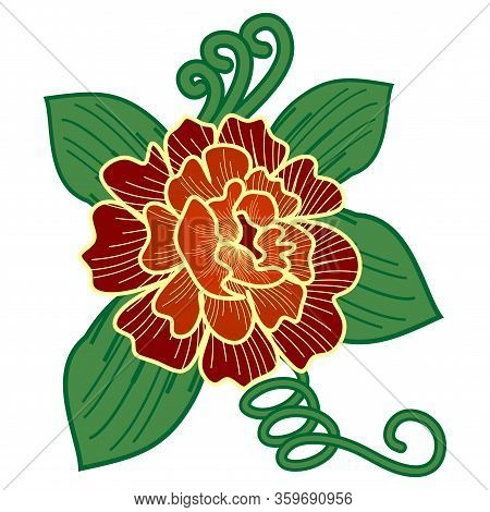 Graphical Flower Illustration. Green Flower, White Flower, Contour Flower, Bloom Flower, Decorative