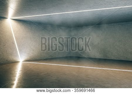 Contemporary Concrete Futuristic Gallery Interior With Light Lines On Wall. Design And Modern Concep