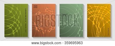 Biotechnology And Neuroscience Vector Covers With Neuron Cells Structure. Fluid Curve Lines Net Back