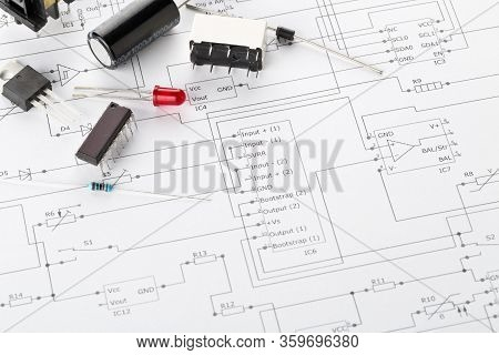 Different Electronic Parts Or Components On Pcb Wiring Diagram Background With Resistors, Capacitors