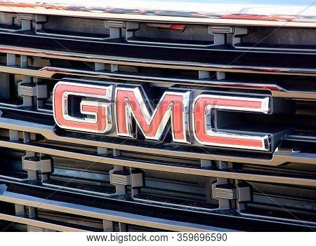 Montreal, Canada - April 4, 2020: Gmc Logo On A Car Close-up. Gmc General Motors Company Is A Divisi