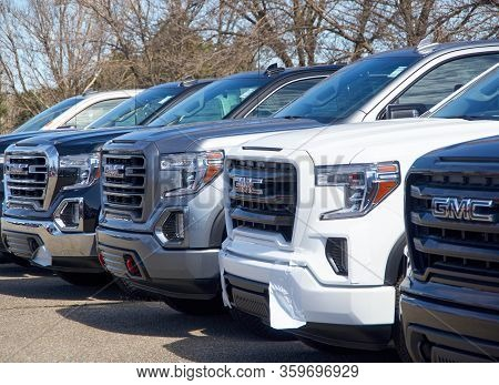 Montreal, Canada - April 4, 2020: Gmc New 2020 Trucks In A Line At Dealership. Gmc General Motors Co