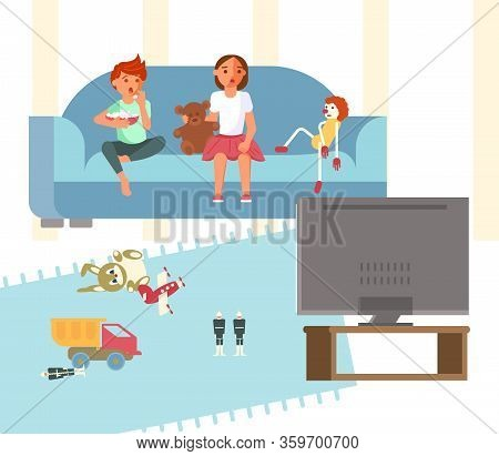 Children Is Watching Tv While Sitting On The Couch And Feels Surprise And Fright. Toxic Media And Pa