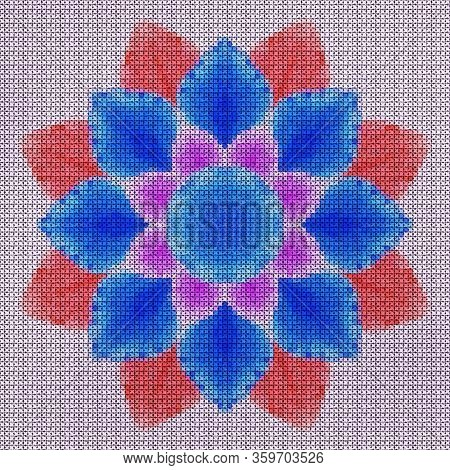 Illustration Cross Stitch Mandala From Flowers. Cross-stitch Floral Collage. Mandala - Symbol Of Med