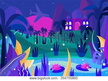 Tropical Island Night Illustration With Fireflies, Palms, Plants And Lake